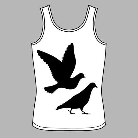 singlet: Going & flying pigeons black silhouette singlet, vector illustration isolated on background