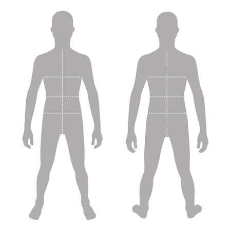 Figura plantilla sólida silueta del adolescente de la manera (frontal y posterior) con líneas de marcado tamaños de cuerpo, ilustración vectorial aislados en fondo blanco