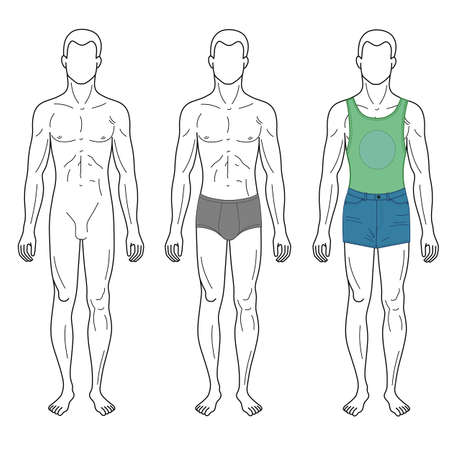 front: Fashion man outlined template full length front figure silhouette in shorts & brief underpants, vector illustration isolated on white background