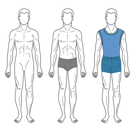full figure: Fashion man outlined template full length front figure silhouette in jeans & brief underpants, vector illustration isolated on white background