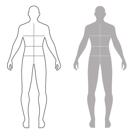 proportions of man: Fashion man full length outlined template figure silhouette with marked bodys sizes lines (front view), vector illustration isolated on white background Illustration