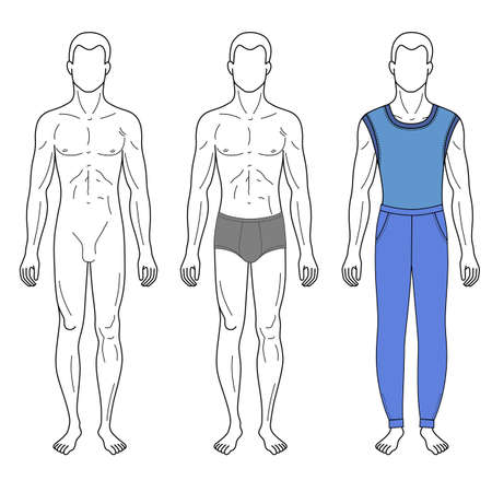 proportions of man: Fashion man outlined template full length front figure silhouette in vest & sweatpants, vector illustration isolated on white background