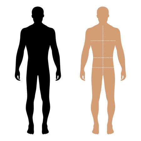 masculin: Hombre de la manera longitud completa figura plantilla sólida silueta con líneas tamaños marcado de cuerpo (vista frontal), ilustración vectorial aislados en fondo blanco Vectores
