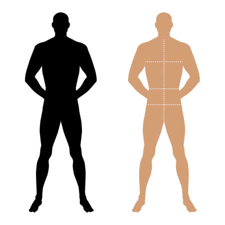 proportions of man: Fashion man full length solid template figure silhouette with marked bodys sizes lines (front view), vector illustration isolated on white background Illustration