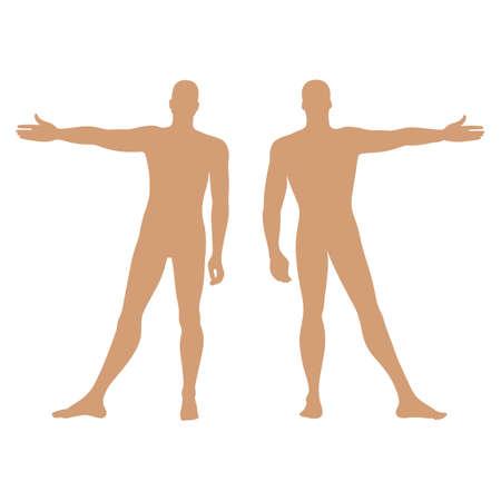 Moda uomo modello figura solida silhouette (anteriore e vista posteriore), illustrazione vettoriale isolato su sfondo bianco