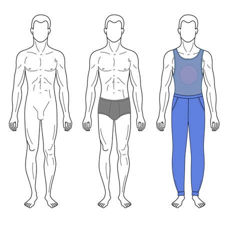 full figure: Fashion man outlined template full length front figure silhouette in vest & sweetpants, vector illustration isolated on white background