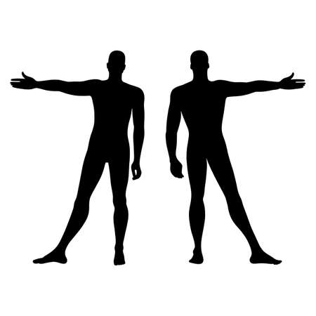 back of leg: Fashion mans solid template figure silhouette (front & back view), vector illustration isolated on white background