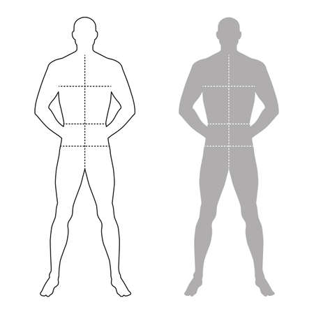full length: Fashion man full length outlined template figure silhouette with marked bodys sizes lines (front view), vector illustration isolated on white background Illustration