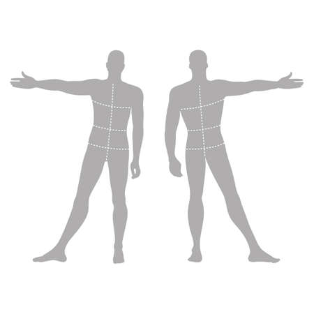proportions of man: Fashion mans solid template figure silhouette (front & back view) with marked bodys sizes lines, vector illustration isolated on white background