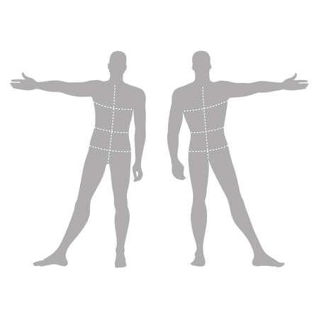 dessin au trait: solide chiffre modèle la silhouette de la mode homme (avant et vue de dos) avec des tailles de lignes de corps marqué, illustration vectorielle isolé sur fond blanc
