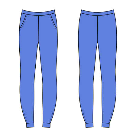 outlined isolated: Outlined sweatpants vector illustration isolated on white (front & back)