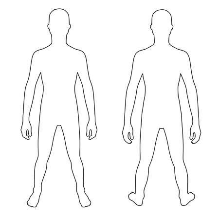 silueta humana: esbozado plantilla silueta de la figura del adolescente de la manera (frontal y posterior), ilustración vectorial aislados en fondo blanco