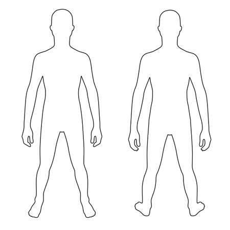 proportions of man: Fashion teenagers outlined template figure silhouette (front & back view), vector illustration isolated on white background Illustration