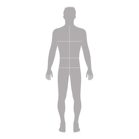 Fashion man full length outlined template figure silhouette with marked bodys sizes lines (front view), vector illustration isolated on white background Ilustração
