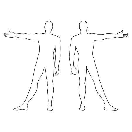 Delineato modello figura silhouette moda dell'uomo (anteriore e vista posteriore), illustrazione vettoriale isolato su sfondo bianco Archivio Fotografico - 61969989