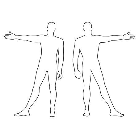 delineato modello figura silhouette moda dell'uomo (anteriore e vista posteriore), illustrazione vettoriale isolato su sfondo bianco