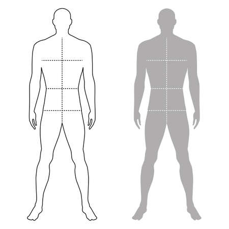 full figure: Fashion man full length outlined template figure silhouette with marked bodys sizes lines (front view), vector illustration isolated on white background Illustration