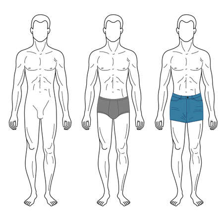 proportions of man: Fashion man outlined template full length front figure silhouette in briefs, vector illustration isolated on white background