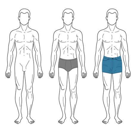piernas mujer: Hombre de la manera de plantilla descrito longitud completa figura en la silueta delante escritos, ilustración vectorial aislados en fondo blanco Vectores
