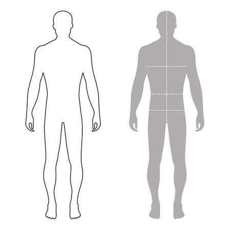 Hombre de la manera longitud completa esbozó plantilla silueta de la figura con líneas tamaños marcado de cuerpo (vista frontal), ilustración vectorial aislados en fondo blanco