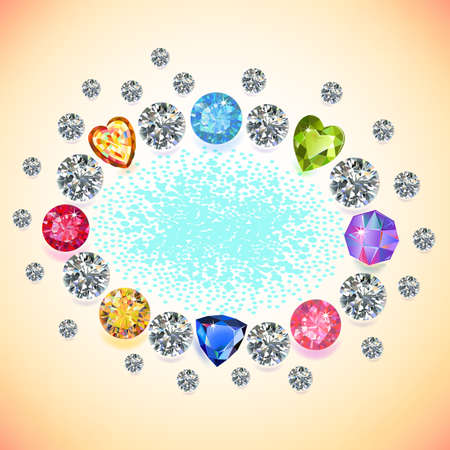 alluvial: Colored gems oval frame isolated on light background, vector illustration