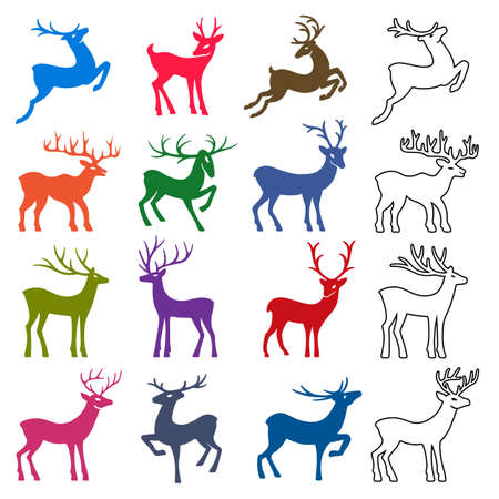 Colored & black deer vector silhouettes set isolated on white background, design for Xmas cards, calendars, banners and flyers, vector illustration isolated on white background