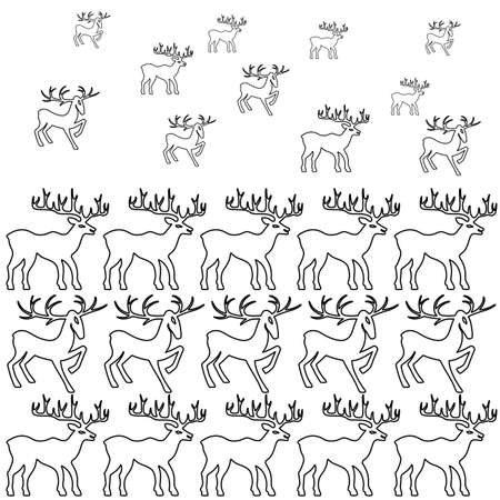 wild venison: Deer coloring book page set silhouettes isolated on white background, design for Xmas cards, banners and flyers, vector illustration isolated on white background Illustration