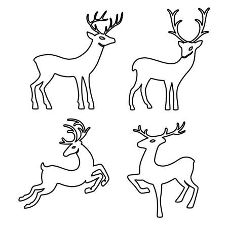 progeny: Outlined deer set silhouettes isolated on white background, design for Xmas cards, banners and flyers, vector illustration isolated on white background Illustration