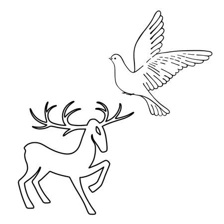wild venison: Outlined deer & soaring dove set silhouettes isolated on white background, design for Xmas cards, banners and flyers, vector illustration isolated on white background Illustration