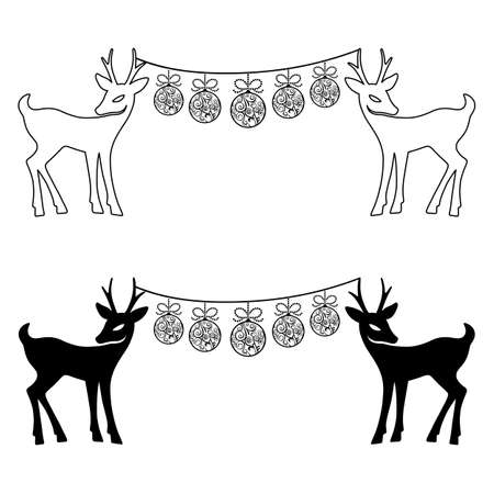 Deers & Christmas balls set silhouettes isolated on white background, design for Xmas cards, banners and flyers, vector illustration isolated on white background