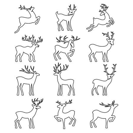 wild venison: Black outlined deer vector silhouettes set isolated on white background, design for Xmas cards, calendars, banners and flyers, vector illustration isolated on white background