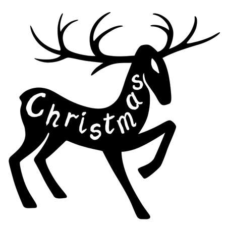 wild venison: Christmas lettering: wonderful deer hoof beats (silhouette), design for Xmas cards, banners and flyers, vector illustration isolated on white background