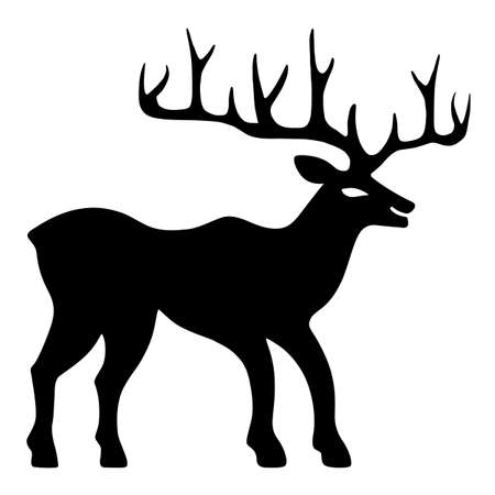wild venison: Marvellous old deer stands or walks (silhouette), design for Xmas cards, banners and flyers, vector illustration isolated on white background