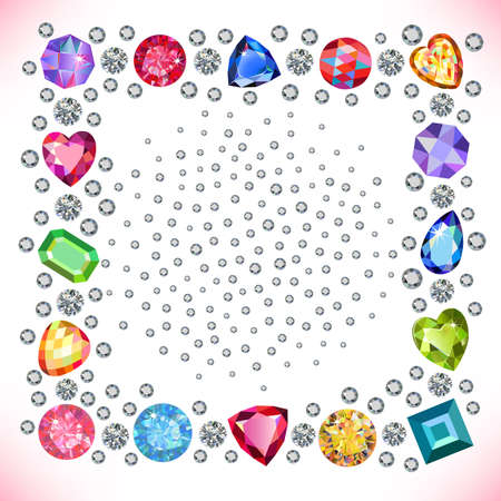 zircon: Colored gems square shape frame isolated on light background, vector illustration Illustration