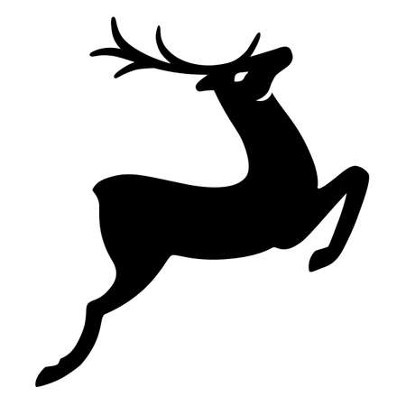 wild venison: Wonderful deer running (silhouette), design for Xmas cards, banners and flyers, vector illustration isolated on white background Illustration