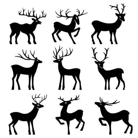 progeny: Nine black deer set silhouettes isolated on white background, design for Xmas cards, banners and flyers, vector illustration isolated on white background