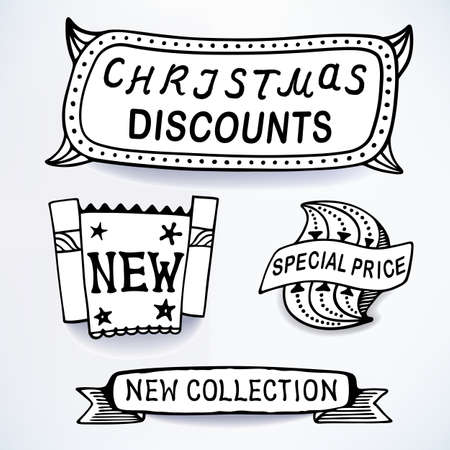 inset: Black-white set of promotional sales english text labels, signs, stickers. Image contains gradients, blends and gradient meshes Illustration