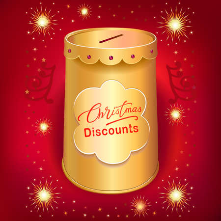 blends: Xmas discounts holiday moneybox tin can template isolated on red joy background. Image contains transparencies, gradient meshes and blends
