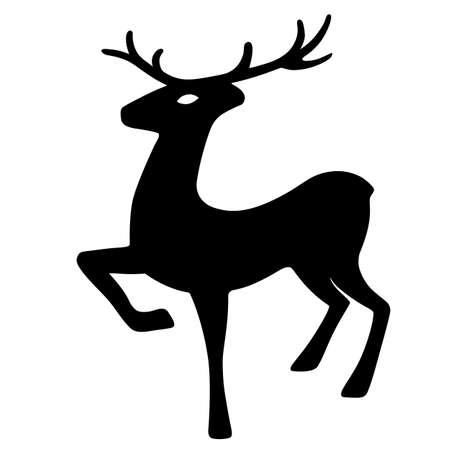 wild venison: Wonderful deer hoof beats (silhouette), design for Xmas cards, banners and flyers, vector illustration isolated on white background
