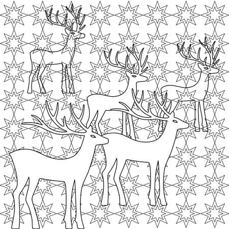 wild venison: Deer coloring book page set silhouettes isolated on starry background, design for Xmas cards, banners and flyers, vector illustration isolated on white background Illustration