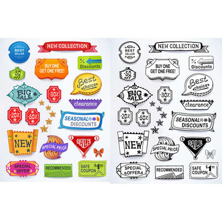 hand written: Colored & black-white set of promotional sales english text labels, signs, stickers. Image contains gradients, blends and gradient meshes
