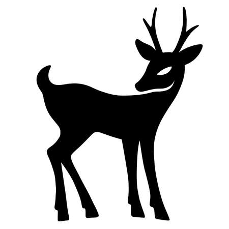 aside: Marvellous fawn with interest looks aside (silhouette), design for Xmas cards, banners and flyers, vector illustration isolated on white background