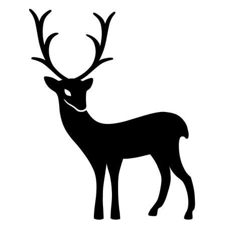 wild venison: Marvellous deer stands (silhouette), design for Xmas cards, banners and flyers, vector illustration isolated on white background