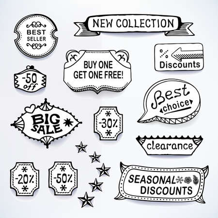 blends: Black-white set of promotional sales english text labels, signs, stickers. Image contains gradients, blends and gradient meshes Illustration