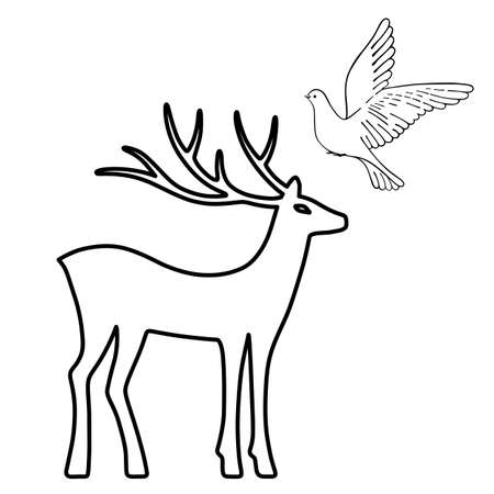 Outlined deer & soaring dove set silhouettes isolated on white background, design for Xmas cards, banners and flyers, vector illustration isolated on white background Illustration
