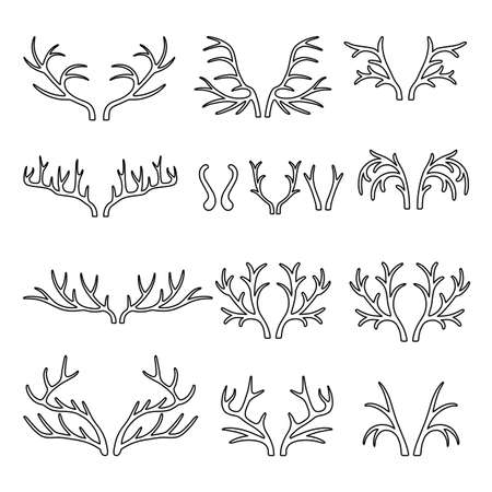 antlers: Outlined deer antlers black silhouettes set vector isolated on white background