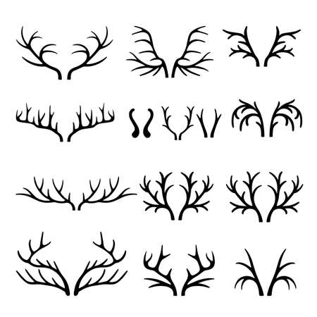 horns: Deer antlers black silhouettes set vector isolated on white background