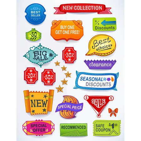 inset: Colored set of promotional sales english text labels, signs, stickers. Image contains gradients, blends and gradient meshes