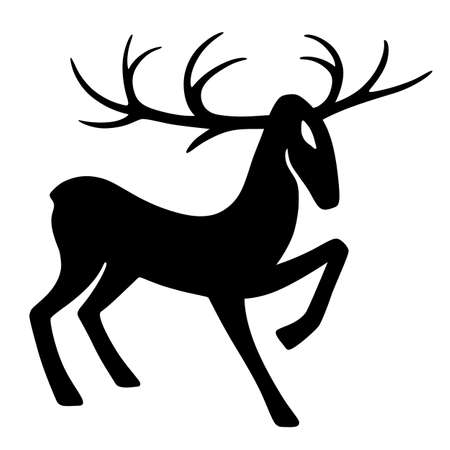 Wonderful deer hoof beats (silhouette), design for Xmas cards, banners and flyers, vector illustration isolated on white background
