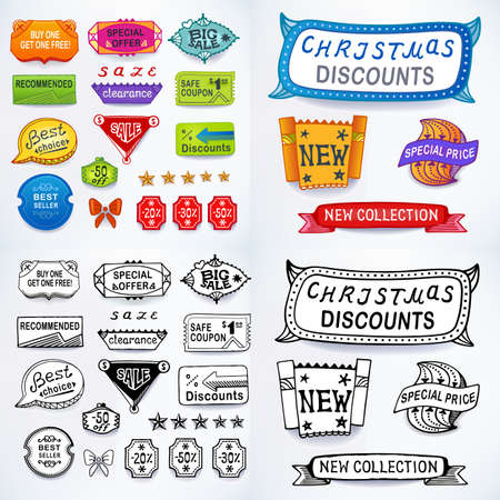 blends: Colored & black-white set of promotional sales english text labels, signs, stickers. Image contains gradients, blends and gradient meshes